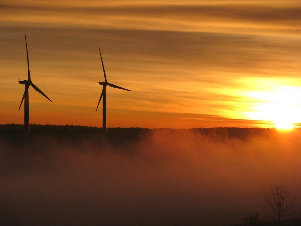 Windkraft Sonnenaufgang